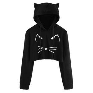 Frauen Sexy Casual Langarm Cat Kitty Print Kurze Hoodies Bluse Top Pullover YSZ80907491 Größe:L,Farbe:Transparent