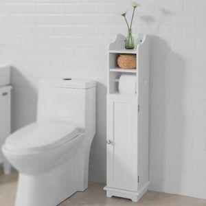 SoBuy® Freistehend weiß Toilettenrollenhalter,Toilettenpapier aufbewahrung,FRG177-W