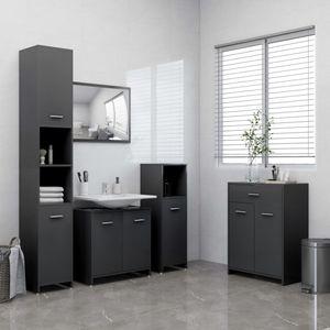 Hochwertigen 4-tlg. Badezimmermöbel-Sets Grau - Badezimmer Spiegel Waschtisch Kommode Unterschrank Badschrank Badspiegel