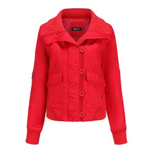 Damen Casual Revers kurze Baumwolljacke Parka Mantel,Farbe: rot,Größe:XL
