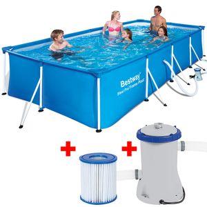 Bestway Frame Pool 400x211x81cm Set Swimming Familien Aufstellpool
