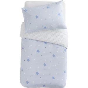 DOMIVA Bettwäscheset Little Stars - 1 Bettbezug 100 x 140 cm + 1 Kissenbezug - 120 g / m² - Sky