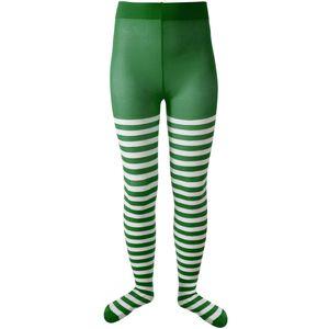 dressforfun Gestreifte Strumpfhose für Kinder grün-weiß - 110/128