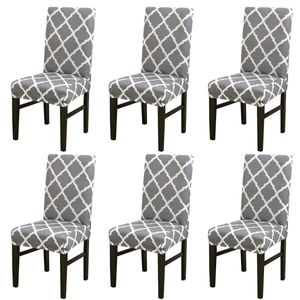 Stuhlhussen 6 Stück Elastische Moderne Beschützer Stuhlhussen, Stuhl Abdeckungen für Haus Esszimmer Moderne Hochzeit Bouquet, Hotel, Restaurant Nachbildung(Grau)