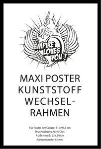 Posterrahmen empireposter® für Poster, Kunststoff / Acrylglas, 61x91,5cm schwarz