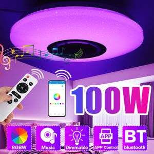 Elegant 100W Dimmbare LED RGBW Deckenleuchte bluetooth Music Speaker Lamp APP Fernbedienung AC180-265V 114 LEDs