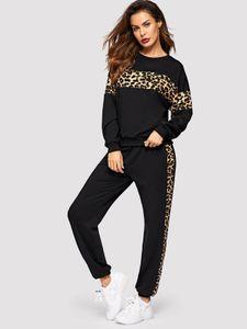 Damen Jogginganzug Leopard Muster Print Freizeitanzug Fashion Fitness Sweat Trainingsanzug ootd Stretch, Farben:Schwarz, Größe:3XL