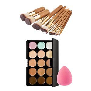 Make-up Pinsel Set 9 Stück Schminkpinsel + 15 Farben Concealer Palette + 1 Schwamm Foundation Puff, Schminkschwamm
