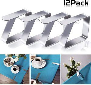 12pcs Edelstahl Tischdeckenklammer Garten Tischdeckenhalter Tischtuchhalter Tischtuchklammern Tischtuch Clips Geeignet für Desktop Zum Klammer Befestigen der Tischdecke