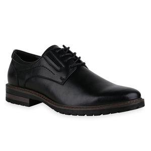 Mytrendshoe Herren Klassische Schnürer Blockabsatz Elegante Business Schuhe 836060, Farbe: Schwarz, Größe: 43