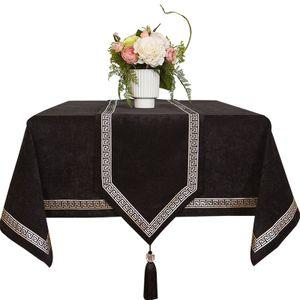 Tischdecke Spitze Spleißen Speisetischdecke feste Tischabdeckung Samt Kaffee -(Schwarz,140x140cm)