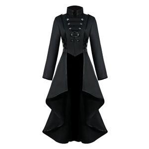 Damen Steampunk Schwalbenschwanz Mantel Schwarz, Frauen Langen Grabenmantel Mantel Steampunk Uniform Kostüm Party Outwear Gothic Mantel Größe L.