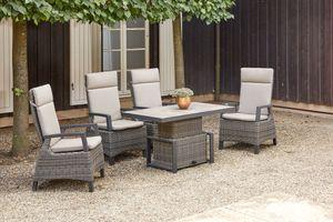 SIENA GARDEN Corido Sitzgruppe, charcoal, Alu / Gardino®-Geflecht, 4 Diningsessel, stufenloser Lifttisch 130x75x47-71cm
