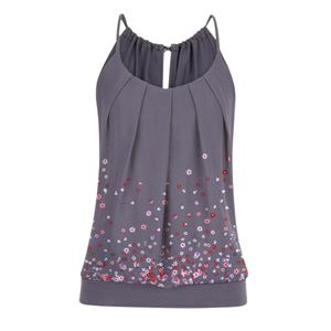 Frauen Sommer Loose O Neck Plissee Cami Tank Tops Blumendruck Gebänderte Taille Top Größe:XL,Farbe:Grau
