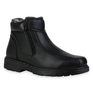 Mytrendshoe Herren Winter Boots Warm Gefütterte Stiefel Bequeme Zipper Schuhe 835743, Farbe: Schwarz, Größe: 41