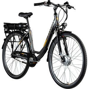 Zündapp Z502 700c E-Bike Citybike Pedelec 28 Zoll E Damenfahrrad Elektrofahrrad Tiefeinsteiger, Farbe:grau/orange, Ausführung:ohne Korb