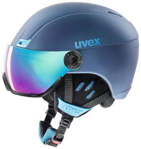 Uvex hlmt 400 visor style Skihelm mit Visier, Größe:58-61 cm, Farbe:blau