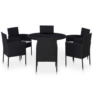 7-teiliges Outdoor-Essgarnitur Garten-Essgruppe Sitzgruppe Tisch + stuhl mit Kissen Poly Rattan Schwarz