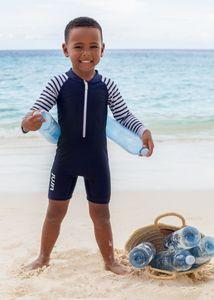 JUJA - UV-Schwimmanzug für Babys - Langärmlig - Stripy - Dunkelblau, 86/92