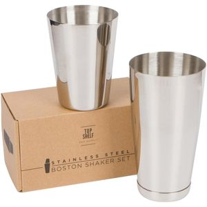 Stainless Steel Boston Shaker: 2-piece Set: 20oz Unweighted & 26oz Weighted Professional Bartender Cocktail Shaker
