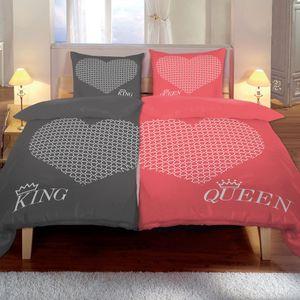 Kuscheli® 4-teilig Partner Bettwäsche 135x200 mit 80x80 Kissenbezug      seidig weich, Mikrofaser Bettwäsche für Paare, Farbe:King-Queen rosa-grau, Größe:135x200 + 80x80