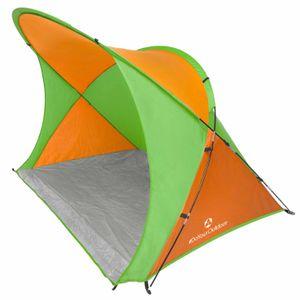XXL Strandmuschel inkl. UV-Schutz 30+ (Sonnenschutz) / Größe ca. 200x150x130cm in 4 coolen Farben (blau grün rot gelb) mit Tragetasche & 4x Zeltheringen zur sicheren Befestigung im Boden (windstabil) - Strandzelt mit 8,5mm Fiberglas-Gestänge (sehr stabil) - ideal für den Strand & den Garten.  Das Sonnenzelt / Windzelt »Robbe« ist perfekt für Famlien orange/grün
