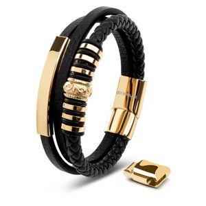 SERASAR | Armband Herren aus Leder mit Geschenkschachtel und Edelstahl Verschluss | Farbe: Gold | Länge: 20cm
