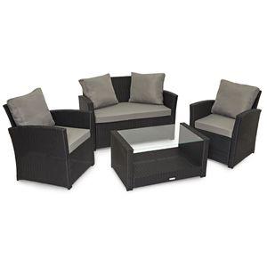 SVITA ROMA Polyrattan Lounge Rattan Garten Möbel Set mit Sofa und Sessel Gartenlounge Essgruppe mit Tisch Schwarz