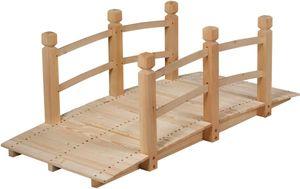 GOPLUS Holzbrücke Holzbruecke aus Tannenholz, Gartenbrücke bis 100 kg, Teichbrücke Braun, Zierbrücke mit Geländer, 150x67x55cm (Natur)