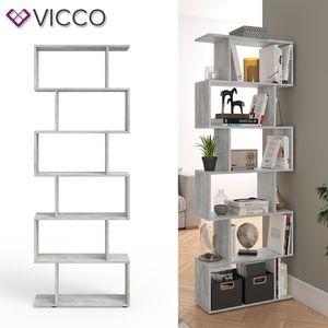 Vicco Raumteiler LEVIO Beton Optik Bücherregal Standregal Aktenregal Hochregal Aufbewahrung Regal