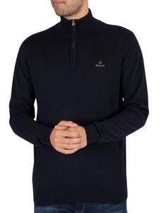 GANT Herren Klassisches Sweatshirt mit halbem Reißverschluss aus Baumwolle, Blau XL