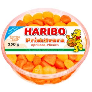 Haribo Primavera Aprikose-Pfirsich (350g flache Runddose)
