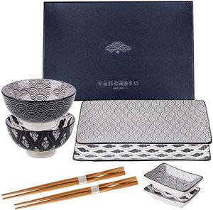 vancasso HARUKA 8-teilig Sushi Set, Porzellan Japanisch Essservice für 2 Personen, Beinhaltet Sushi Teller, Schalen, Soßenschälchen und Essstäbchen