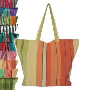 Robuste XXL Strandtasche Badetasche Einkaufstasche Shopper Fair Trade Handarbeit, Farbe:orange-grün