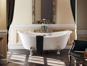 Casa Padrino Jugendstil Badewanne freistehend 1640mm BBat Weiß - Freistehende Retro Antik Badewanne, Badewannen Füsse:Standard Classical Silber