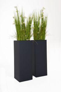 """Pflanzkübel Blumenkübel Zink """"Block"""", Anthrazit - 29x29x80 (2er Set ohne Einsatz)"""