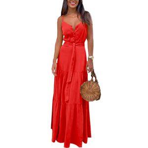Langes Kleid Der Frau Sommer Hosenträger Party Sexy Kleid,Farbe: Rot,Größe:M