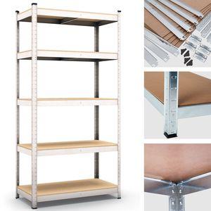 Steckregal Werkstattregal 1800x750x450 mm, 5 Ebenen, Farbe verzinkt, Traglast gesamt 875 kg, Kellerregal Schwerlastregal Metallregal Lagerregal