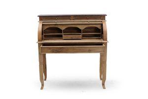 SIT Möbel Sekretär | 4 Schubladen, 5 kleine Fächer | mit Rollladen | Teakholz natur | B 100 x T 41 x H 106 cm | 06240-34 | SERIE SEADRIFT