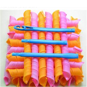 18 Stück - Lockenwickler Curler über Nacht für Damen und Frauen von Zuhause ohne Hitze (Pink VS Orange)