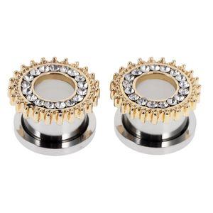Paar Chirurgische Stahl Kristall Schraube Ohr Trage Flecken Tunnel Ohrring Silber Gold