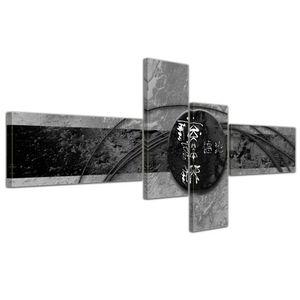 Abstrakte Kunst China - 140x65cm 4 teilig , Farbe:grau