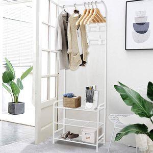 YOLEO Garderobe weiß, Kleiderhaken Garderobenständer mit 18 Haken aus Metall, super Stabiler Kleiderständer mit Schuhablage, 184x62x29cm
