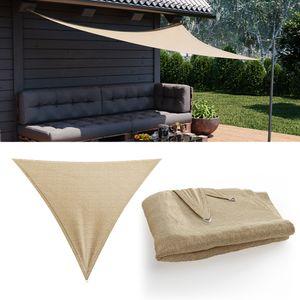OSKAR Sonnensegel Dreieck 3x3x3m Beige Sonnenschutz Windschutz UV-Schutz HDPE