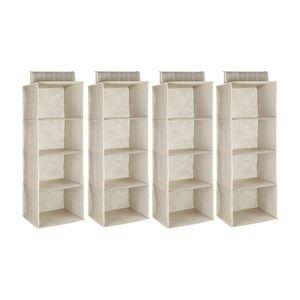shelfmade Hängeschrank / Wäschesortierer, 4 Fächer, 30 x 30 x 84 cm, Set:4er Set, Farbe:Grau/weiss
