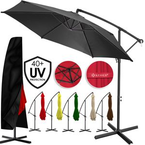 KESSER® Alu Ampelschirm Ø300cm-350cm ✔mit Kurbelvorrichtung ✔UV-Schutz ✔Aluminium ✔Wasserabweisende Bespannung - Sonnenschirm Schirm Gartenschirm Marktschirm, Farbe:Anthrazit, Varianten:350cm