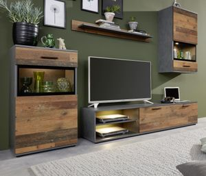 Anbauwand Mango 4-teilig Wohnwand Glas MDF Old Wood Nb. Matera Nb. Wohnzimmer