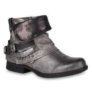 Mytrendshoe Damen Biker Boots Used Look Metallic Stiefeletten Nieten Schuhe 814957, Farbe: Grau Metallic, Größe: 37