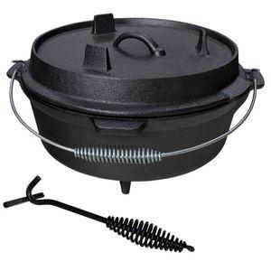 Gusseisen Dutch Oven Feuertopf Grill Lagerfeuer Topf mit Deckelheber eingebrannt 12 L Grillmaster
