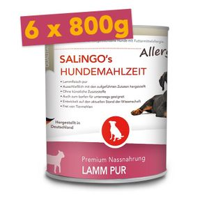 SALiNGO Premium Hunde Nassfutter Lamm Pur | hypoallergen | getreidefrei | 6x800g